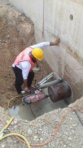 קידוח בטון לצינור גז
